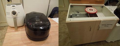 図5 Philipsがデモした無線充電の作業台の上に置かれた炊飯器(左)と、テーブルトップの真下にある強力なコイル(右) 木のテーブルは熱くならない