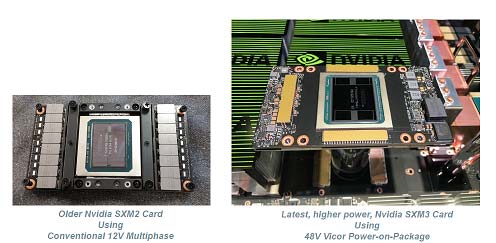 Older Nvidia SXM2 Card Using Conventional 12V Multiphase / Latest, higher power, Nvidia SXM3 Card Using 48V Vicor Power-on-Package